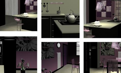 Progetto cucina, diverse angolazioni del modello 3D