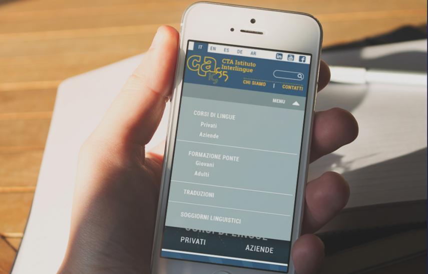 Cta - interlingue, sito internet versione mobile