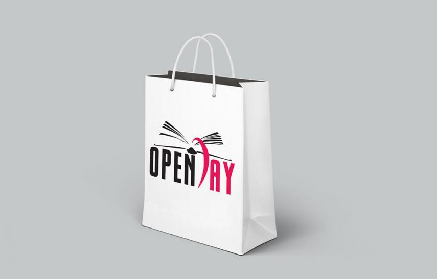 Openday, logo applicazione su sacchetto